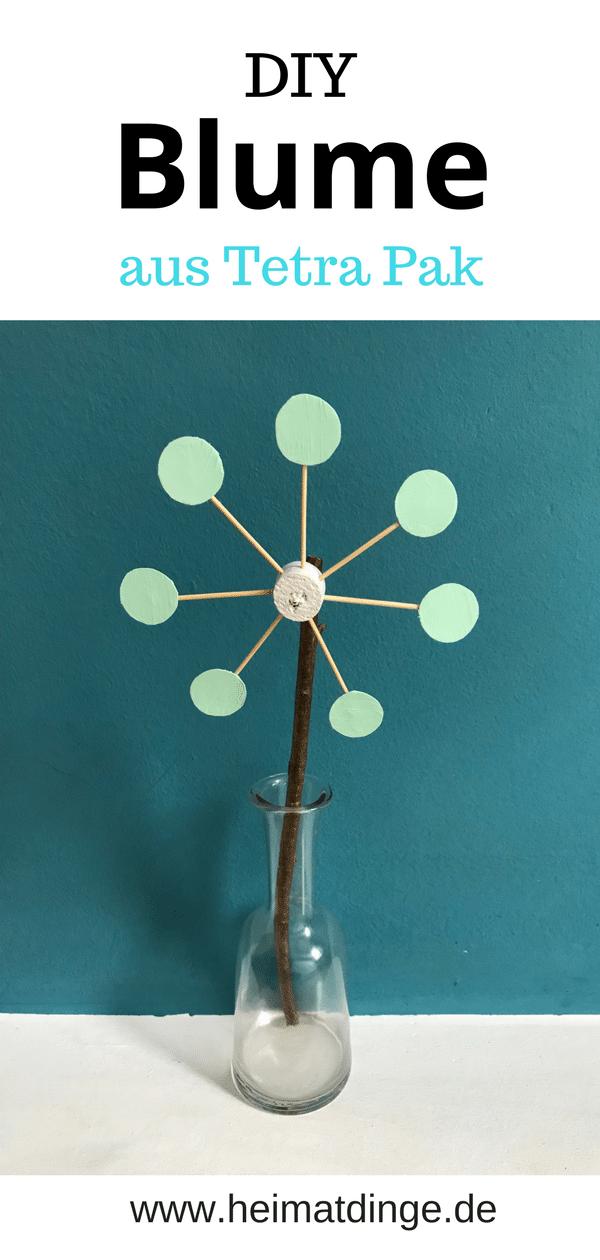 DIY Blume aus Tetra Pak selber machen.