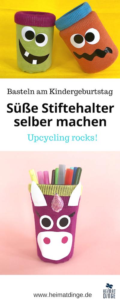 Stiftehalter basteln, bastelidee für kindergeburtstag, upcycling diy