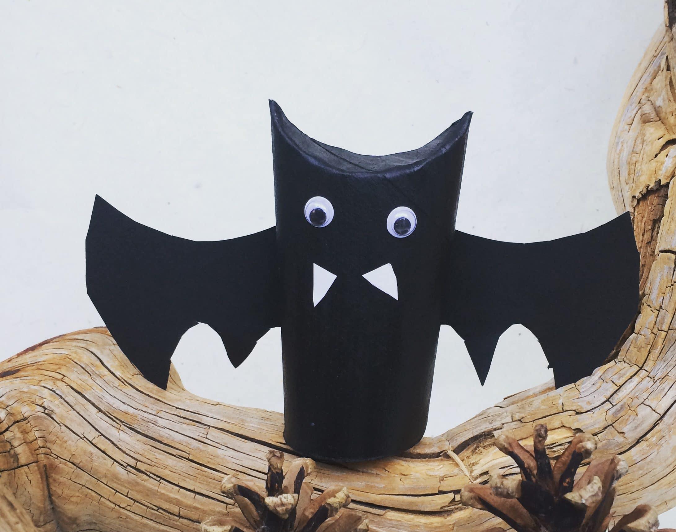 Fledermaus aus Klorolle basteln, Halloween