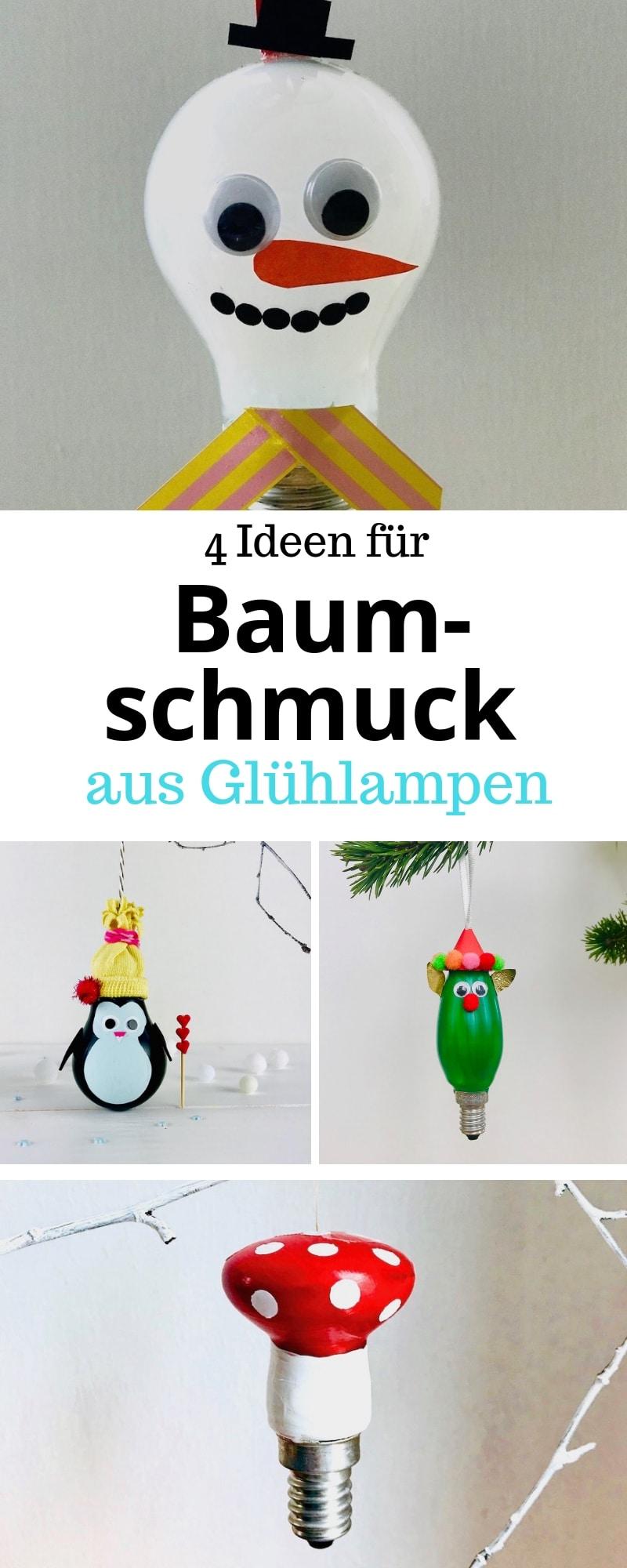 DIY Weihnachtsschmuck, Gluehlampen, basteln, Upcycling