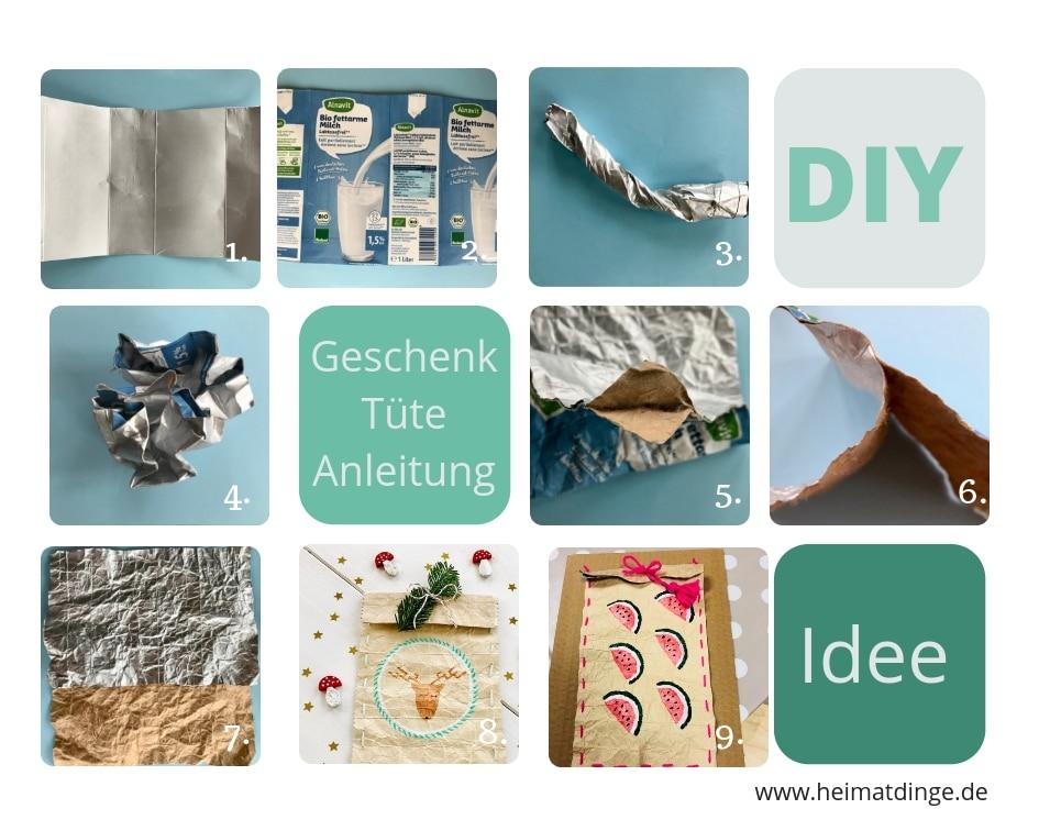 DIY Geschenktüte, basteln, Tetrapak, Upcycling, Gechenkverpackung