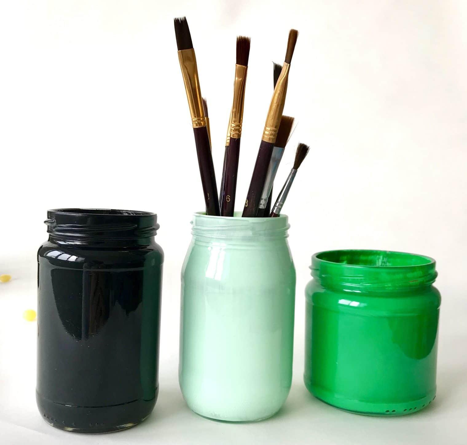 Stiftehalter selber machen, Stiftehalter als Aufbewahrung aus Altglas selber machen