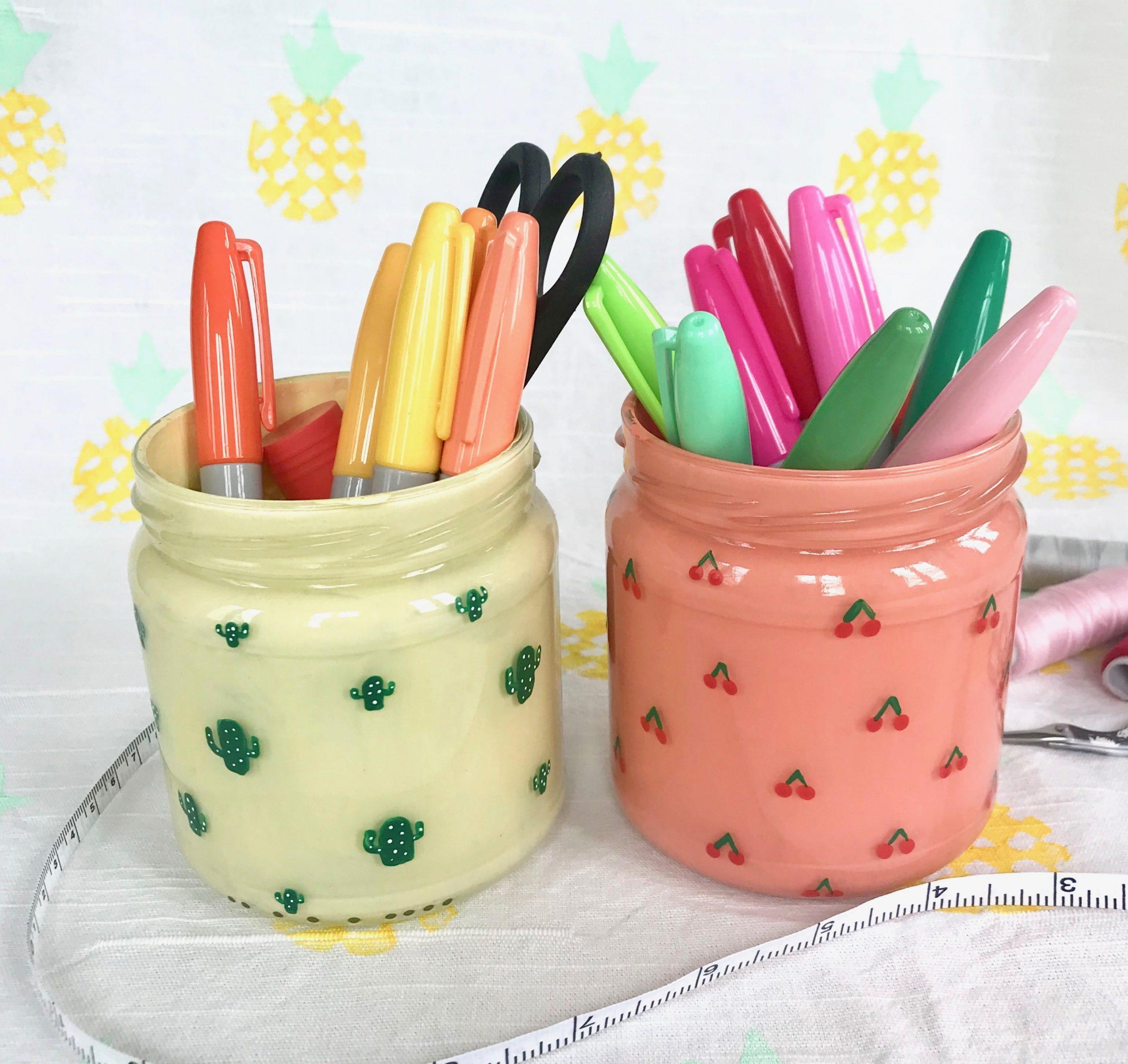 DIY Stiftehalter selbermachen, Kaktus, Kirschen, Ananas, Melone