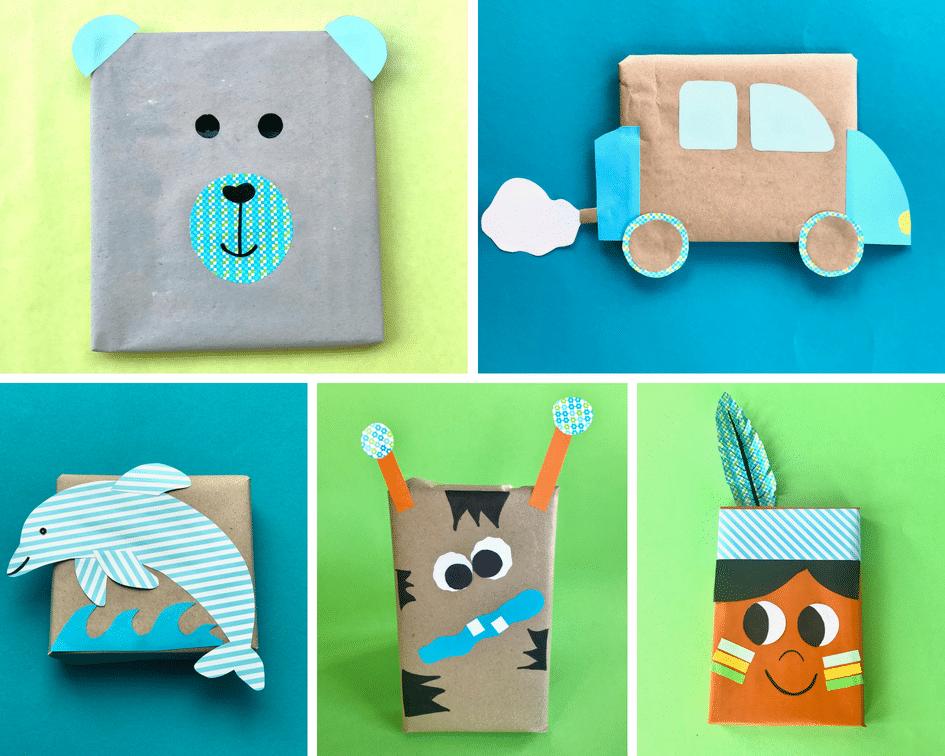 kindergeburtstag-geschenk-verpacken-junge-jungs-ideen-upcycling-baer-indianer-auto-monster-indianer
