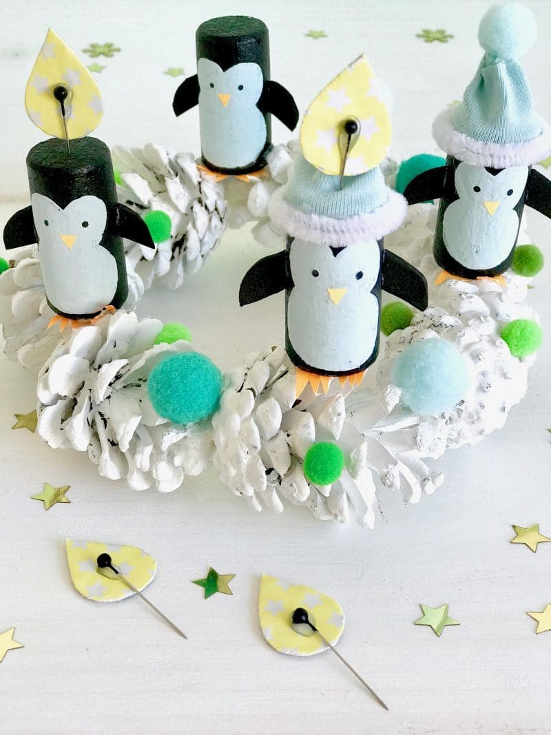 Adventskranz selber machen, Pinguin Adventskranz, Upcycling fuer Kinder, kindersicherer Adventskranz