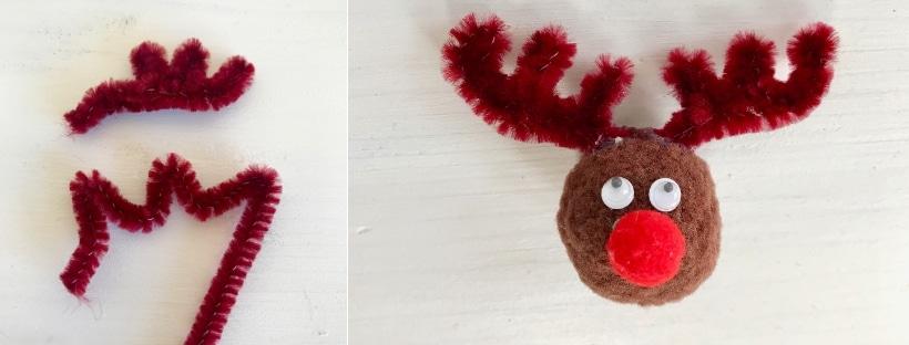 DIY Weihnachtsschmuck, Pompom, Rentier, basteln