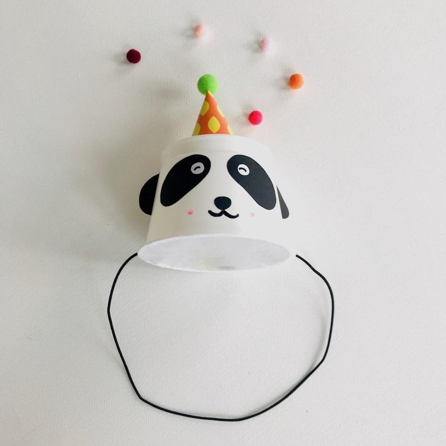 Pandabaer Partyhut basteln, Kinderparty, Upcycling