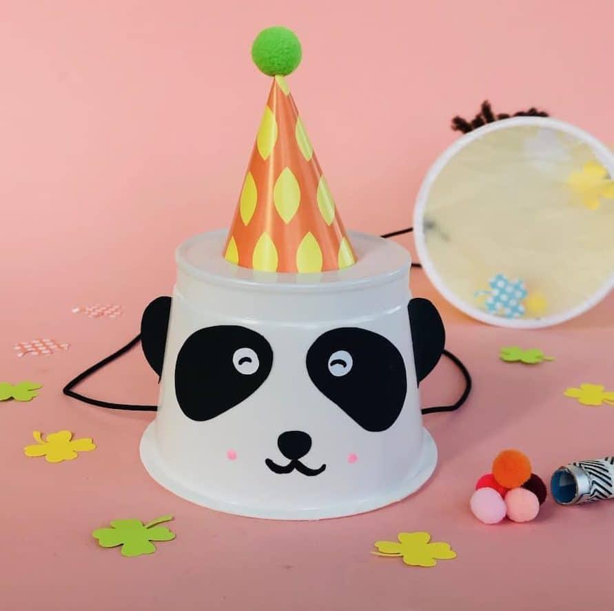 Partyhut basteln, Pandabaer, Spiele für Kindergeburtstag, Kinderfasching,