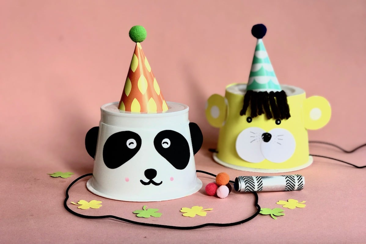 Partyhut basteln, Partyhut basteln, Upcycling, Silvesterparty mit Kindern, Karneval mit Kindern, Kindergeburtstag