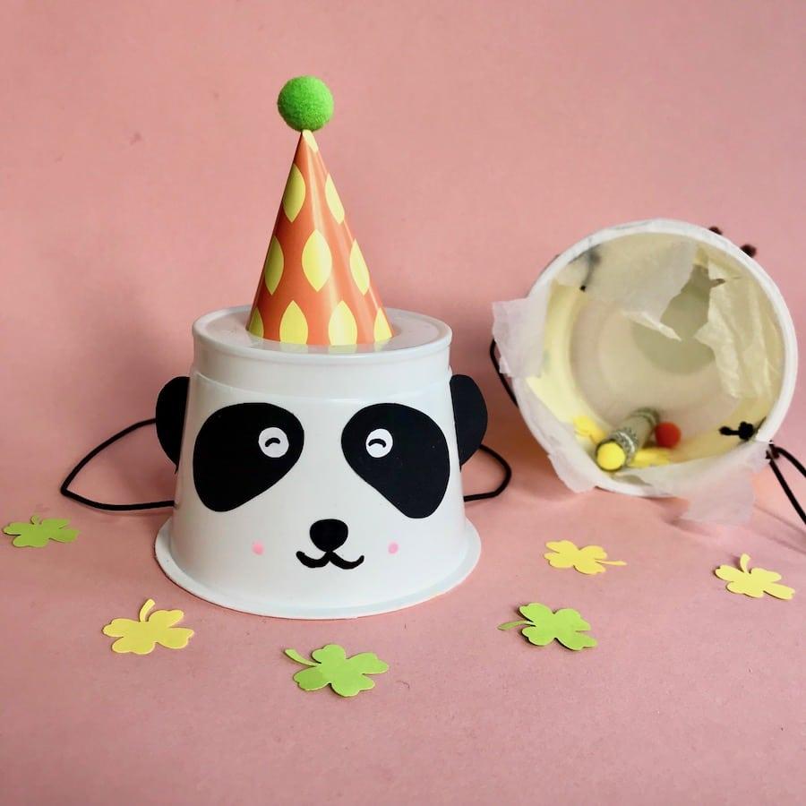 Partyhuetchen basteln, Spielidee für Kindergeburtstag, Pandabär, Kindergeburtstag, Upcycling