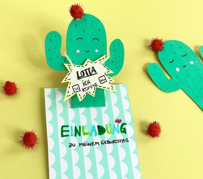 Kaktus Party, Einladung basteln, Upcyling fuer Kinder