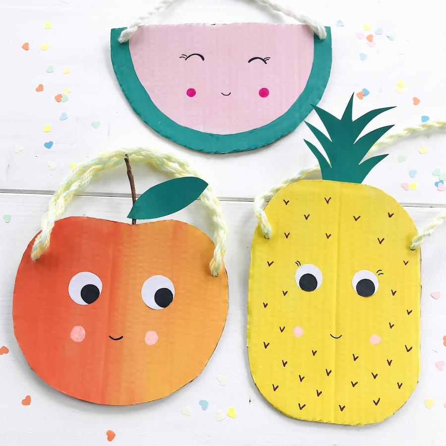 Basteln am Kindergeburtstag, Tutti Frutti Mitgebseltuete, Upcylcing fuer Kinder