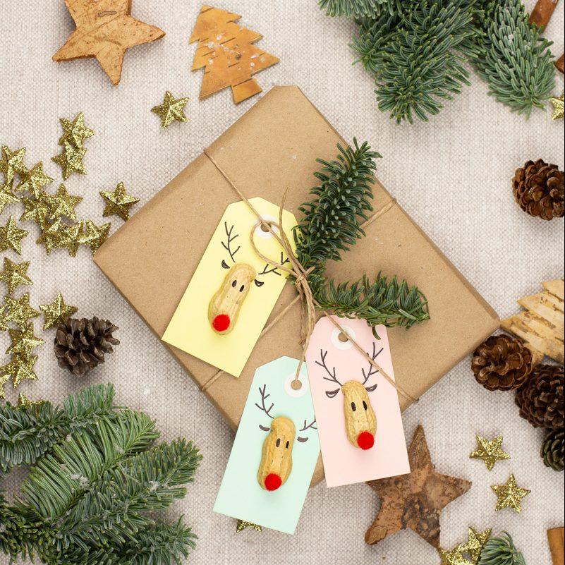 DIY Geschenk Anhänger basteln, Rudolph Geschenkverpackung selber machen