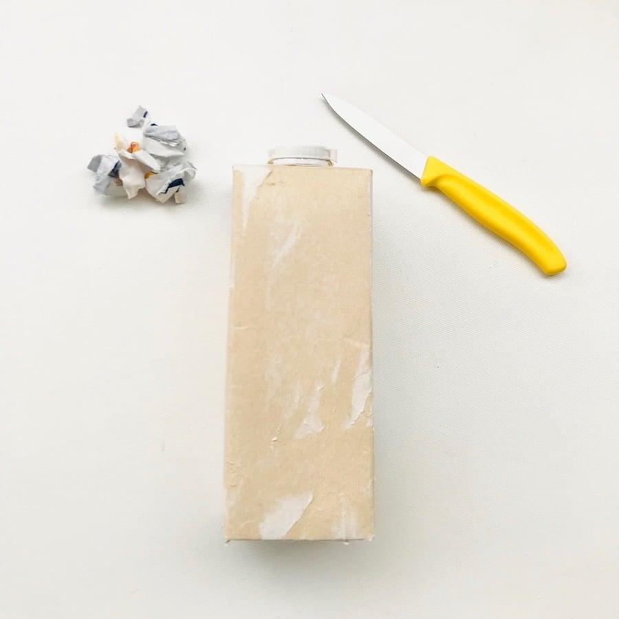 Tetrapack bearbeiten, Basteln mit Tetrapack