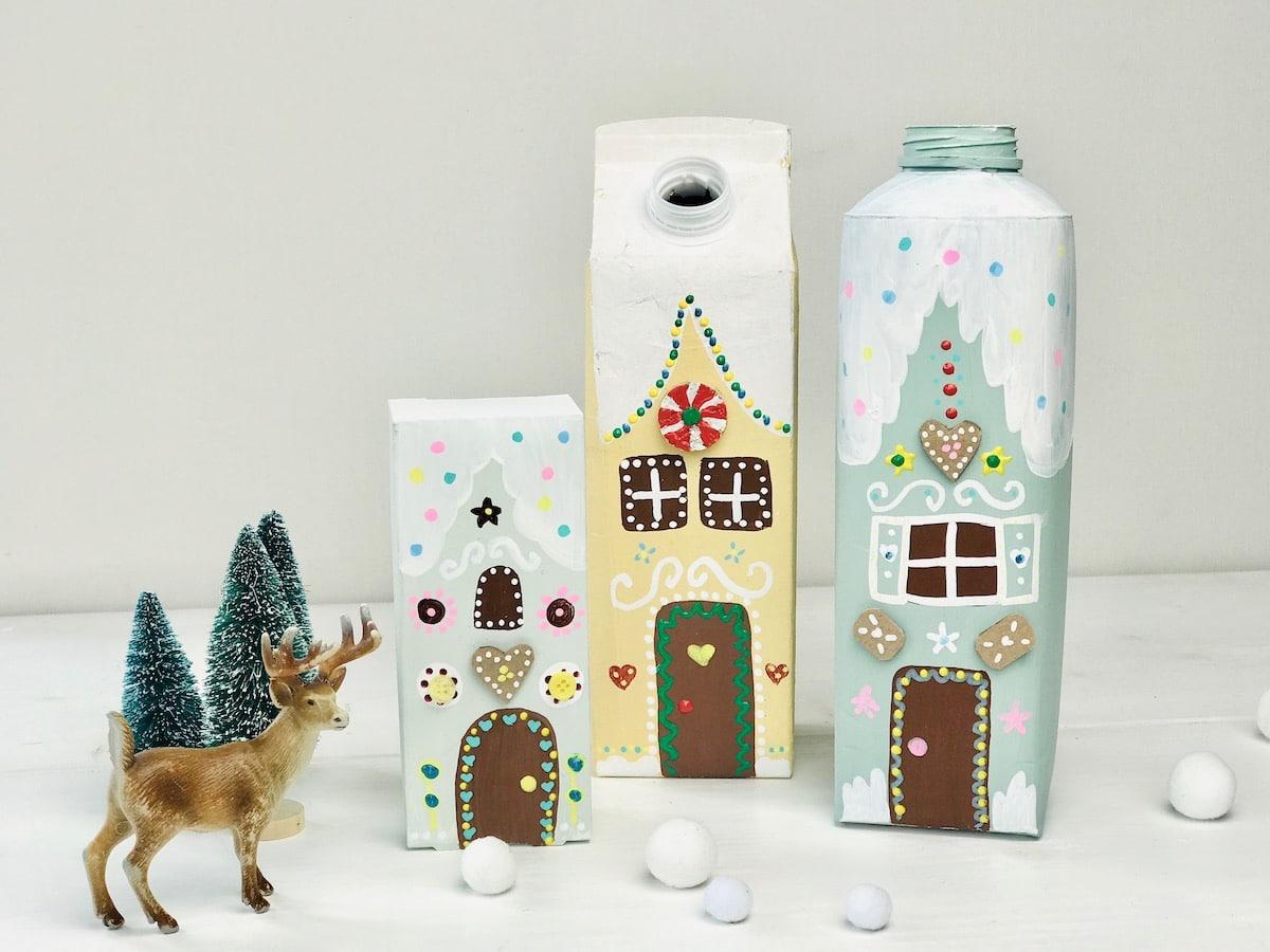 Lebkuchenhaus aus Tetrapack, Upcycling Weihnachtsdeko