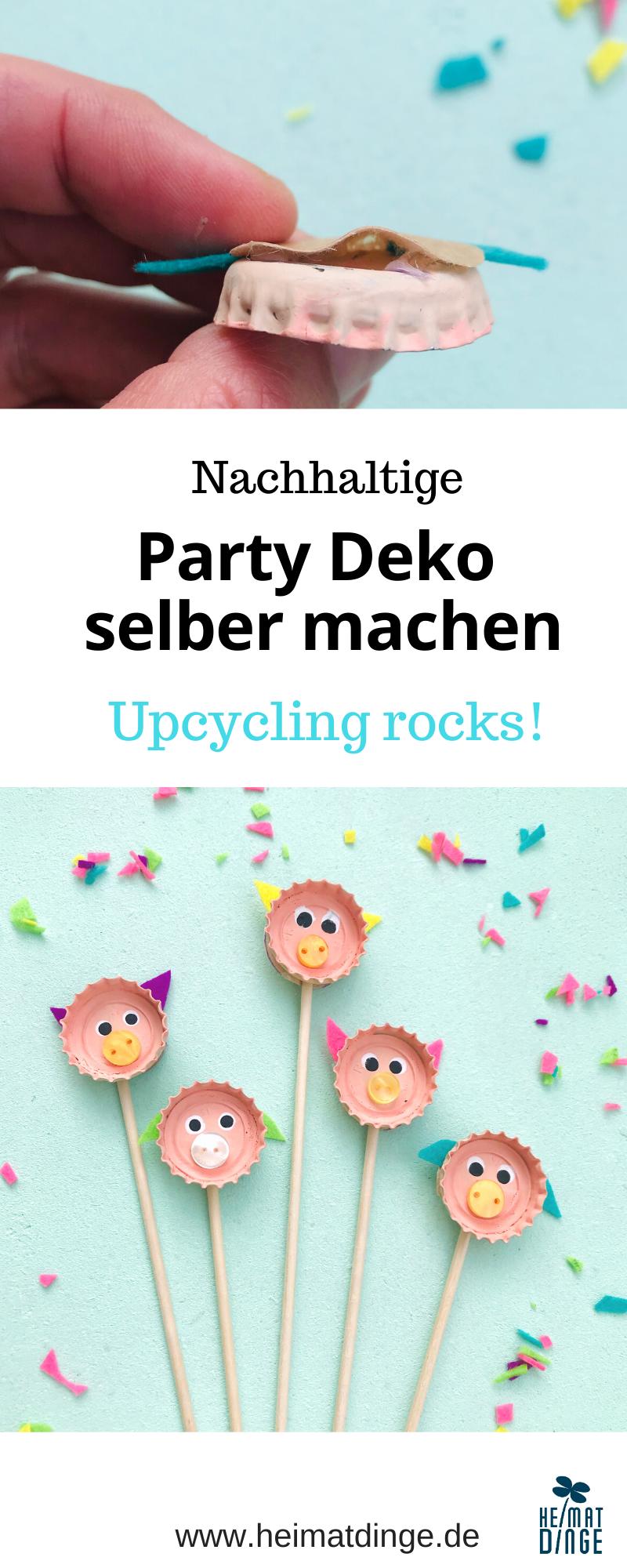 Party Deko selber machen, Upcycling Bastelidee fuer Kinder, Party Picker DIY