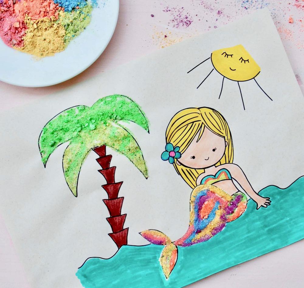 basteln-mit-sand-sandbilder-basteln-meerjungfrau-vorlage
