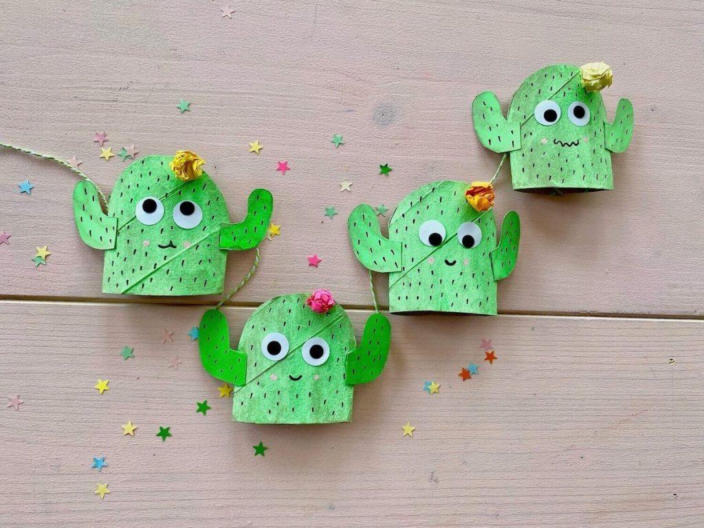 basteln-mit-kinder-sommer-kaktus-fensterdeko-selber-machen-einfache-recycling-idee_