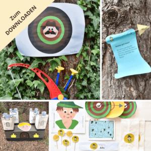 robin-hood-kindergeburtstag-einladung-schnitzeljagd-partydekoration-mitgebsel-vorlagen-zum-ausdrucken-diy-selbermachen